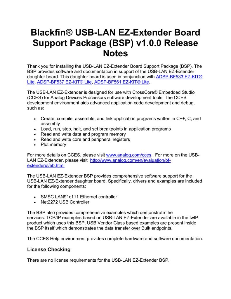 Blackfin® USB-LAN EZ-Extender Board Support Package (BSP) v1 0 0