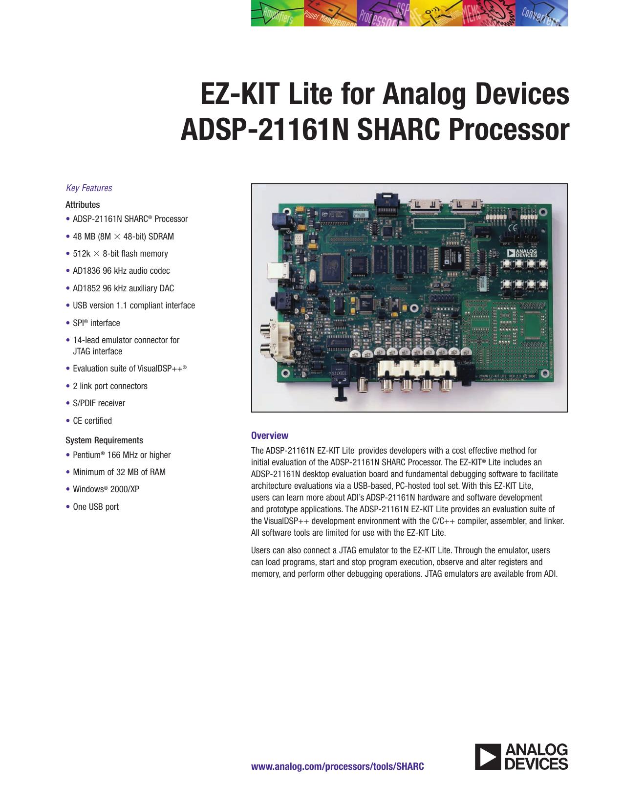 EZ-KIT Lite for Analog Devices ADSP-21161N SHARC Processor