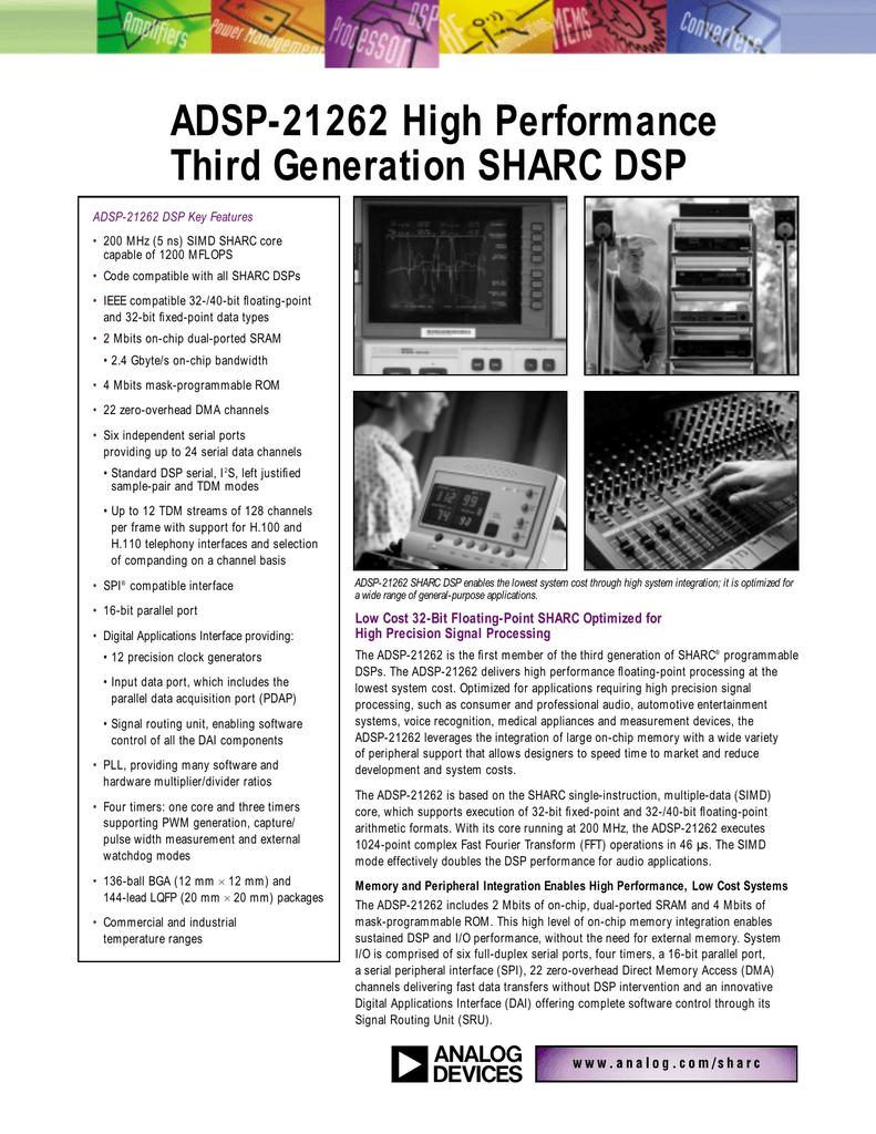 ADSP-21262 High Performance Third Generation SHARC DSP
