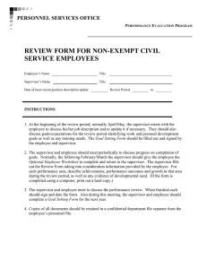 REVIEW FORM FOR NON-EXEMPT CIVIL SERVICE EMPLOYEES PERSONNEL SERVICES OFFICE E