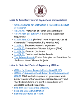 Links to Selected Federal Regulations and Guidelines