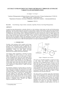 ACCURACY ENHANCEMENT OF VISION METROLOGY THROUGH AUTOMATIC TARGET PLANE DETERMINATION