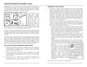 Sexual Orientation & Gender Issues RESOURCES AT UW-LA CROSSE:
