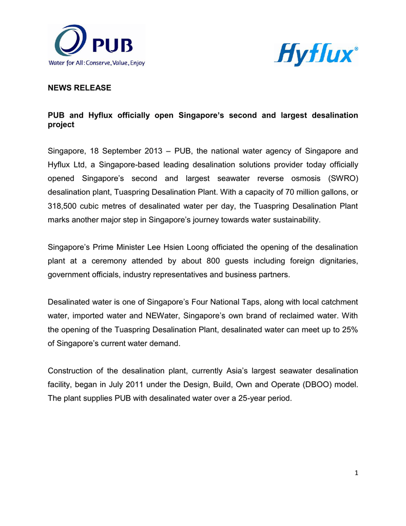 NEWS RELEASE Singapore's second and largest desalination