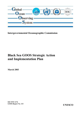 Black Sea GOOS Strategic Action and Implementation Plan Intergovernmental Oceanographic Commission