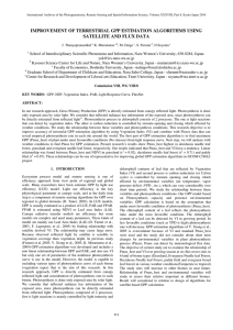 IMPROVEMENT OF TERRESTRIAL GPP ESTIMATION ALGORITHMS USING SATELLITE AND FLUX DATA