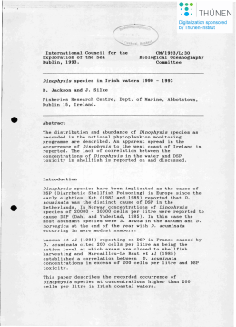 International Council for the CM/1993/L:30 Exploration of the Sea Biological Oceanography