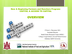 OVERVIEW New & Beginning Farmers and Ranchers Program: