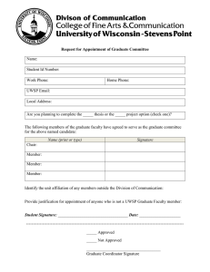 Request for Appointment of Graduate Committee Name: Student Id Number: Work Phone: