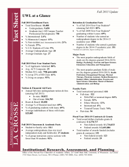 UWL at a Glance Fall 2015 Update