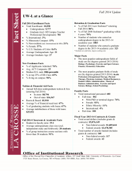 UW-L at a Glance Fall 2014 Update