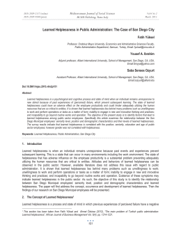 Learned Helplessness in Public Administration: The Case of San Diego... Mediterranean Journal of Social Sciences Fatih Yüksel MCSER Publishing, Rome-Italy