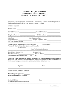 TRAVEL REQUEST FORM F-1 INTERNATIONAL STUDENT PRAIRIE VIEW A&M UNIVERSITY