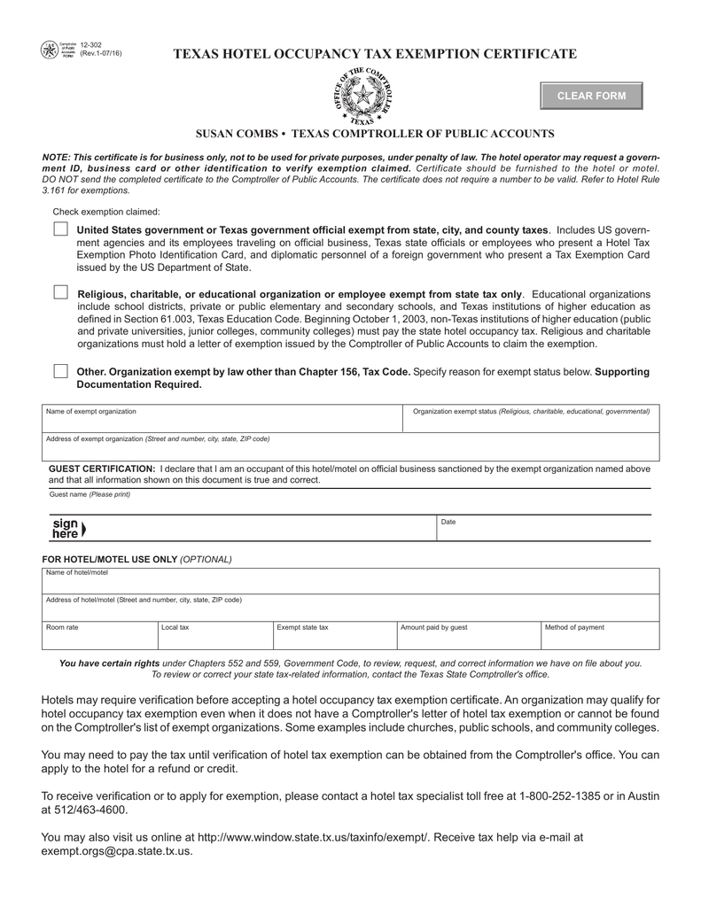 Texas hotel occupancy tax exemption certificate clear form 1betcityfo Image collections