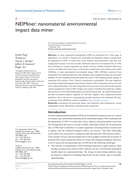 NEIMiner: nanomaterial environmental impact data miner International Journal of Nanomedicine Kaizhi Tang