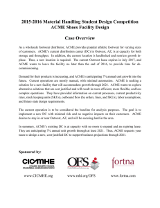 2015-2016 Material Handling Student Design Competition ACME Shoes Facility Design  Case Overview