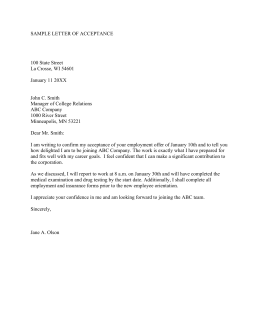 SAMPLE LETTER OF ACCEPTANCE  100 State Street La Crosse, WI 54601