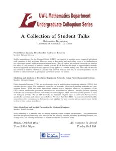 A Collection of Student Talks Mathematics Department