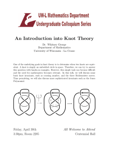 An Introduction into Knot Theory Dr. Whitney George Department of Mathematics