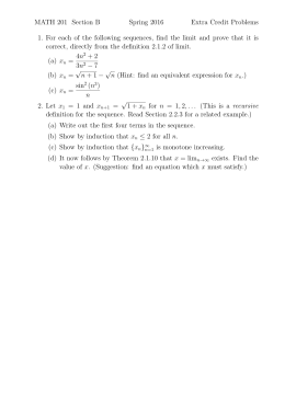 MATH 201 Section B Spring 2016 Extra Credit Problems