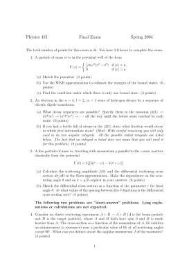Physics 481 Final Exam Spring 2004
