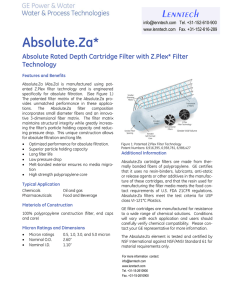 Absolute.Za* Lenntech Absolute Rated Depth Cartridge Filter with Z.Plex* Filter Technology