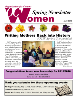 omen Spring Newsletter Writing Mothers Back into History (OCW Spring Symposium)