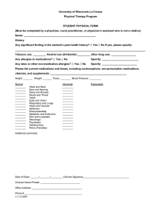 University of Wisconsin-La Crosse Physical Therapy Program STUDENT PHYSICAL FORM