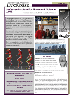 La Crosse Institute For Movement  Science (LIMS)  2014-2015