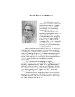 A Notable Woman – Bertha Glennon
