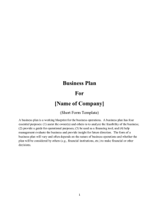 Business Plan For [Name of Company]