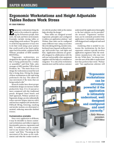 E Ergonomic Workstations and Height Adjustable Tables Reduce Work Stress SAFER HANDLING