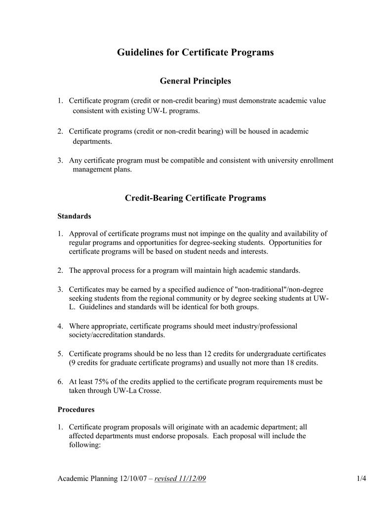 Guidelines For Certificate Programs General Principles