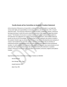 Faculty Senate ad hoc Committee on Academic Freedom Statement