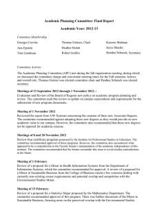 Academic Planning Committee: Final Report Academic Year: 2012-13
