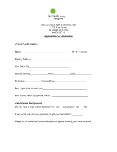 Application for Admission  Contact Information