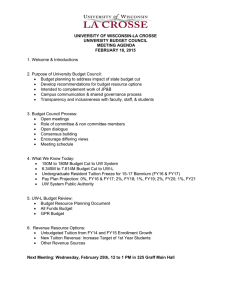UNIVERSITY OF WISCONSIN-LA CROSSE UNIVERSITY BUDGET COUNCIL MEETING AGENDA