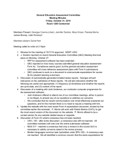 General Education Assessment Committee  Meeting Minutes  Friday, October 31, 2014  Room 1200 Centennial