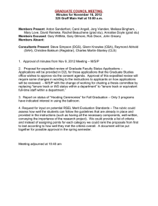 GRADUATE COUNCIL MEETING Minutes for November 16, 2012