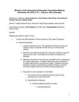 Minutes of the International Education Committee Meeting November 29, 2010, 2:15