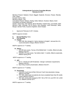 Undergraduate Curriculum Committee Minutes February 22, 2011