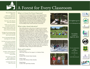 A Forest for Every Classroom Th is workshop series