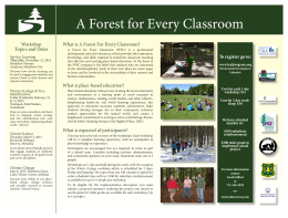 A Forest for Every Classroom Workshop Topics and Dates