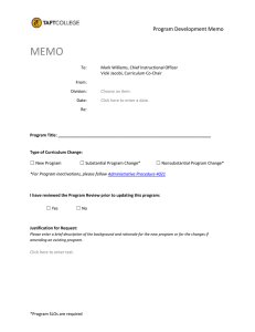 MEMO  Program Development Memo