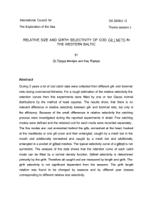 RELATIVE SIZE AND GIRTH SELECTIVITY OF COD  GILLNETS ... THE WESTERN BALTIC