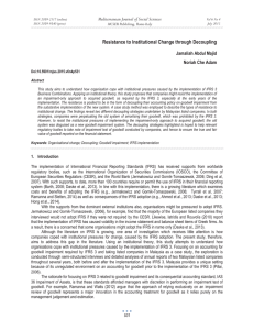 Resistance to Institutional Change through Decoupling Mediterranean Journal of Social Sciences