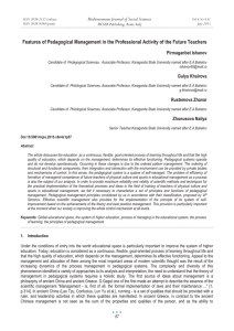 Features of Pedagogical Management in the Professional Activity of the... Mediterranean Journal of Social Sciences Pirmaganbet Ishanov MCSER Publishing, Rome-Italy