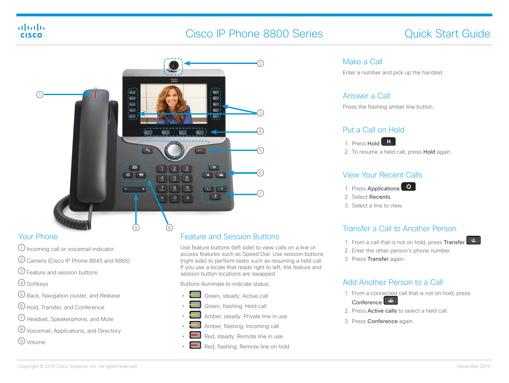 Cisco IP Phone 8800 Series Quick Start Guide Make a Call