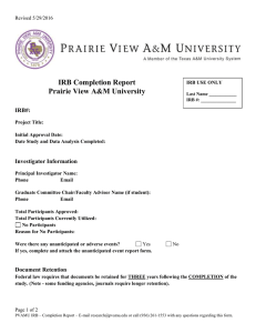 IRB Completion Report Prairie View A&M University IRB#: