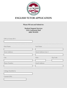 ENGLISH TUTOR APPLICATION Please Fill out and Submit to:  Student Support Services